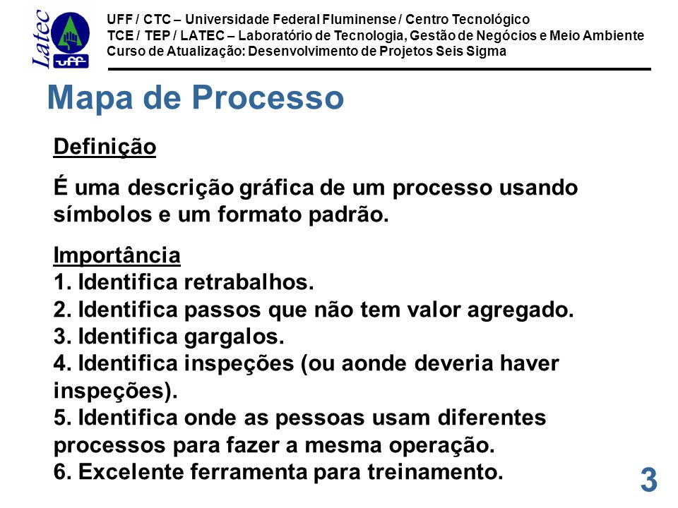 24 UFF / CTC – Universidade Federal Fluminense / Centro Tecnológico TCE / TEP / LATEC – Laboratório de Tecnologia, Gestão de Negócios e Meio Ambiente Curso de Atualização: Desenvolvimento de Projetos Seis Sigma Diagrama de Fluxo de Processo Diagrama que representa a seqüência de operações de um processo, utilizando símbolos padrão.
