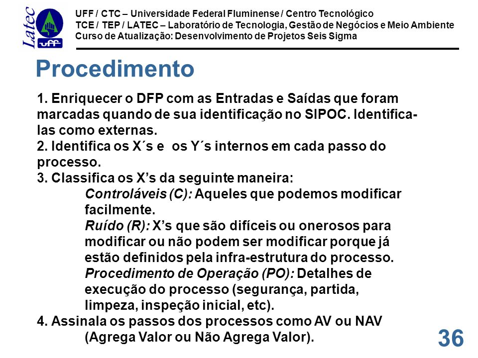 36 UFF / CTC – Universidade Federal Fluminense / Centro Tecnológico TCE / TEP / LATEC – Laboratório de Tecnologia, Gestão de Negócios e Meio Ambiente