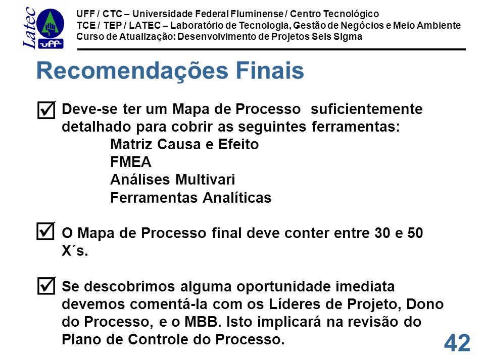 42 UFF / CTC – Universidade Federal Fluminense / Centro Tecnológico TCE / TEP / LATEC – Laboratório de Tecnologia, Gestão de Negócios e Meio Ambiente