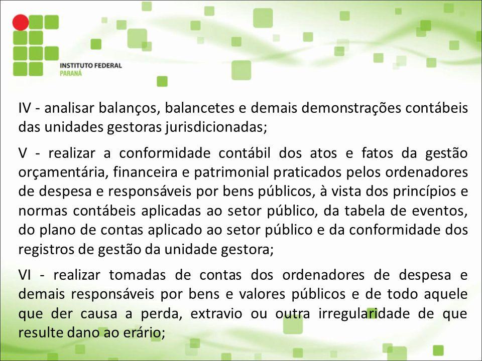 IV - analisar balanços, balancetes e demais demonstrações contábeis das unidades gestoras jurisdicionadas; V - realizar a conformidade contábil dos at
