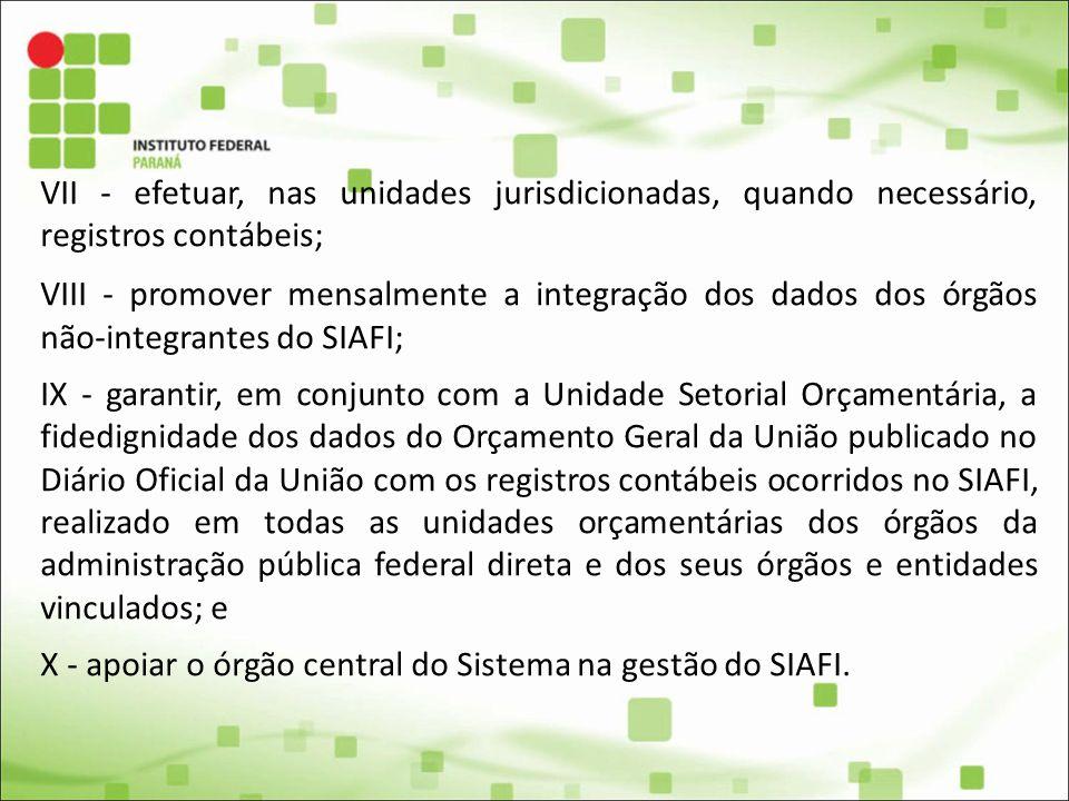 VII - efetuar, nas unidades jurisdicionadas, quando necessário, registros contábeis; VIII - promover mensalmente a integração dos dados dos órgãos não