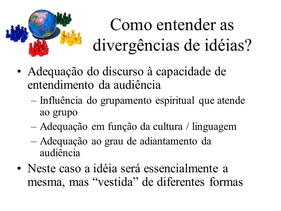 Como entender as divergências de idéias? Adequação do discurso à capacidade de entendimento da audiência –Influência do grupamento espiritual que aten