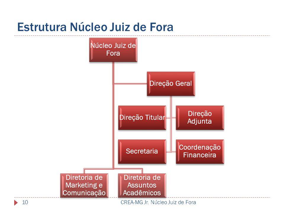 Estrutura Núcleo Juiz de Fora CREA-MG Jr. Núcleo Juiz de Fora10 Núcleo Juiz de Fora Diretoria de Assuntos Acadêmicos Diretoria de Marketing e Comunica