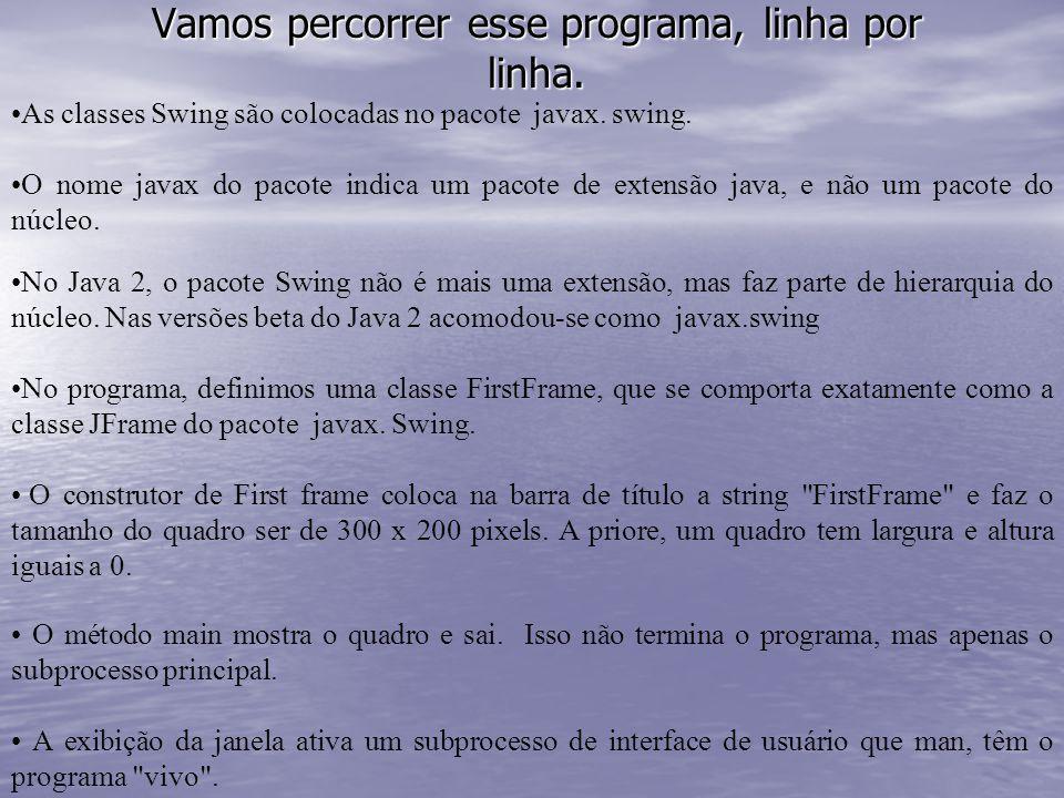 Vamos percorrer esse programa, linha por linha. As classes Swing são colocadas no pacote javax. swing. O nome javax do pacote indica um pacote de exte