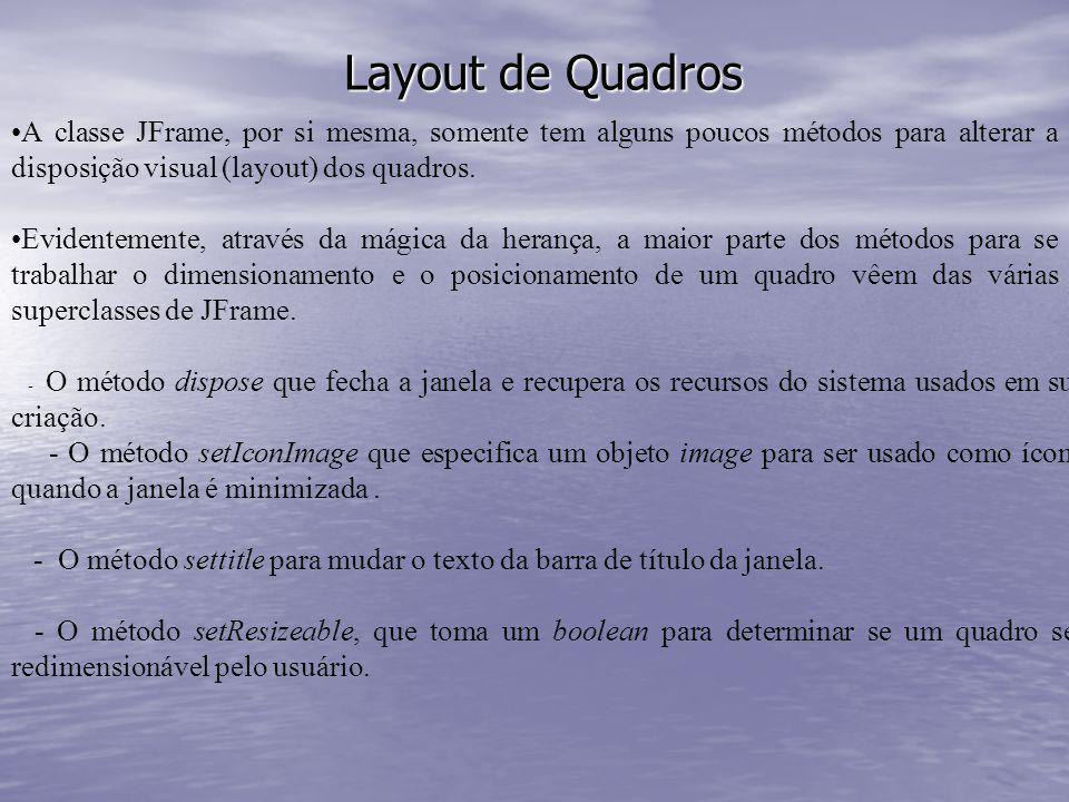 Layout de Quadros A classe JFrame, por si mesma, somente tem alguns poucos métodos para alterar a disposição visual (layout) dos quadros. Evidentement