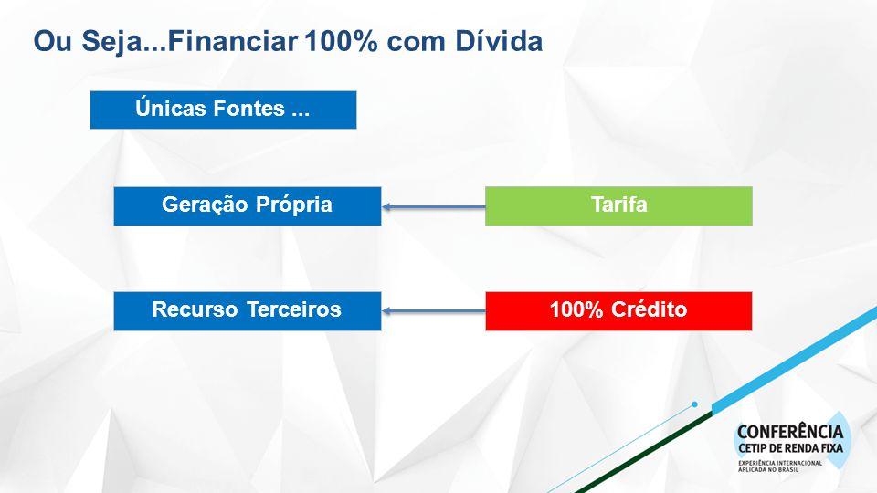 Ou Seja...Financiar 100% com Dívida Únicas Fontes...