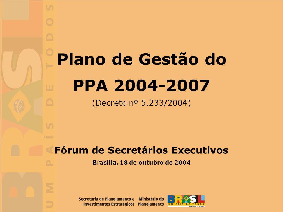 12 1.Discussões no Fórum de Secretários Executivos Nov/03, Dez/03, Mar/04, Mai/04 2.Oficina sobre gestão do Plano Plurianual 2004-2007 24 e 25 de março 2004 3.Reuniões de Sensibilização com as equipes dirigentes dos Ministérios ou equivalentes e Secretarias Especiais ( 20 eventos realizados) de 28 de abril 04 a 18 de outubro 04 4.Publicação do Decreto nº 5.233 que estabelece normas para a gestão do Plano Plurianual 2004-2007 06 de outubro de 2004 5.Reuniões com equipes técnicas dos Ministérios para implementação do modelo (compatibilidade entre as estruturas regimentais e o modelo de gestão do PPA) Segundo semestre 2004 6.Adaptação dos sistemas de informação ao modelo de gestão do PPA e ao SIGPLAN (Eventos para troca de experiências já realizados no MEC, MS, MAPA, INSS) Segundo Semestre 2004 e 2005 (Agenda já realizada) Implantação do Plano de Gestão