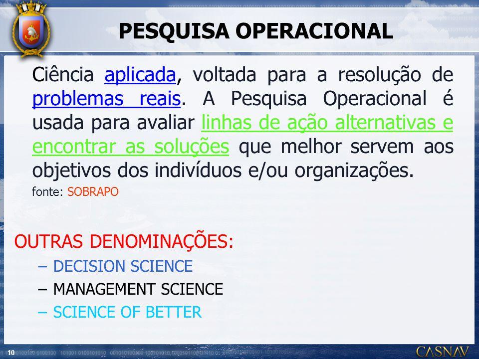 10 PESQUISA OPERACIONAL Ciência aplicada, voltada para a resolução de problemas reais. A Pesquisa Operacional é usada para avaliar linhas de ação alte