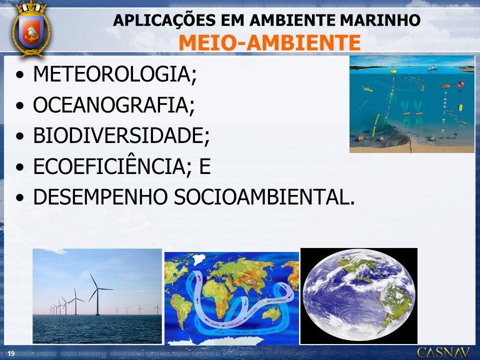 19 APLICAÇÕES EM AMBIENTE MARINHO MEIO-AMBIENTE METEOROLOGIA; OCEANOGRAFIA; BIODIVERSIDADE; ECOEFICIÊNCIA; E DESEMPENHO SOCIOAMBIENTAL.