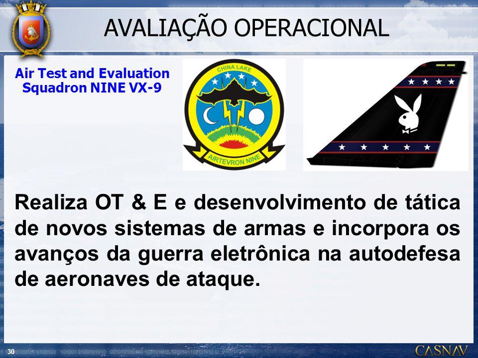 30 Air Test and Evaluation Squadron NINE VX-9 Realiza OT & E e desenvolvimento de tática de novos sistemas de armas e incorpora os avanços da guerra e