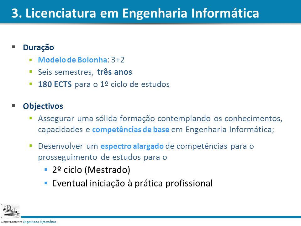 Departamento Engenharia Informática 3. Licenciatura em Engenharia Informática Duração Modelo de Bolonha : 3+2 Seis semestres, três anos 180 ECTS para