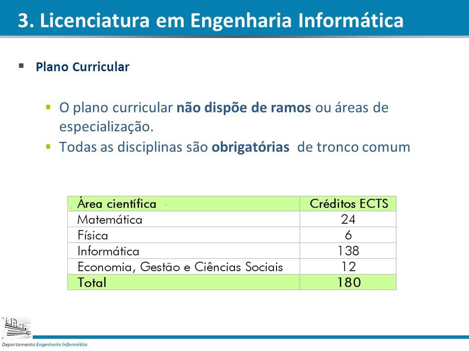 Departamento Engenharia Informática Plano Curricular O plano curricular não dispõe de ramos ou áreas de especialização. Todas as disciplinas são obrig