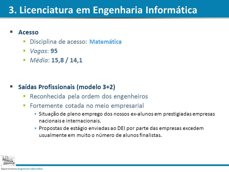 Departamento Engenharia Informática Acesso Disciplina de acesso: Matemática Vagas: 95 Média: 15,8 / 14,1 Saídas Profissionais (modelo 3+2) Reconhecida