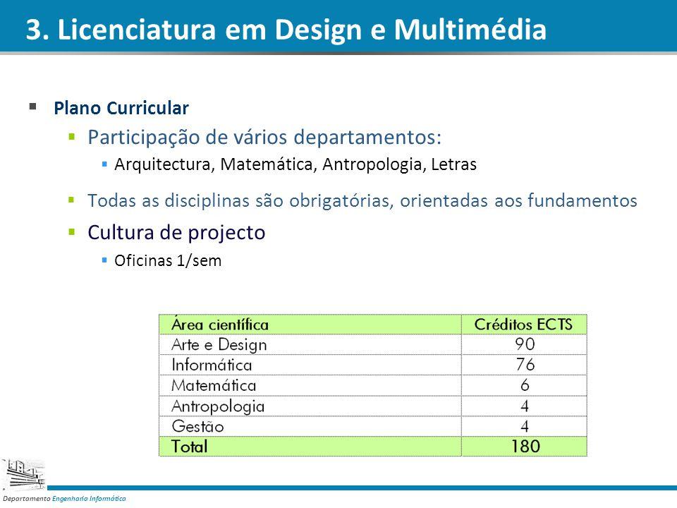 Departamento Engenharia Informática 3. Licenciatura em Design e Multimédia Plano Curricular Participação de vários departamentos: Arquitectura, Matemá