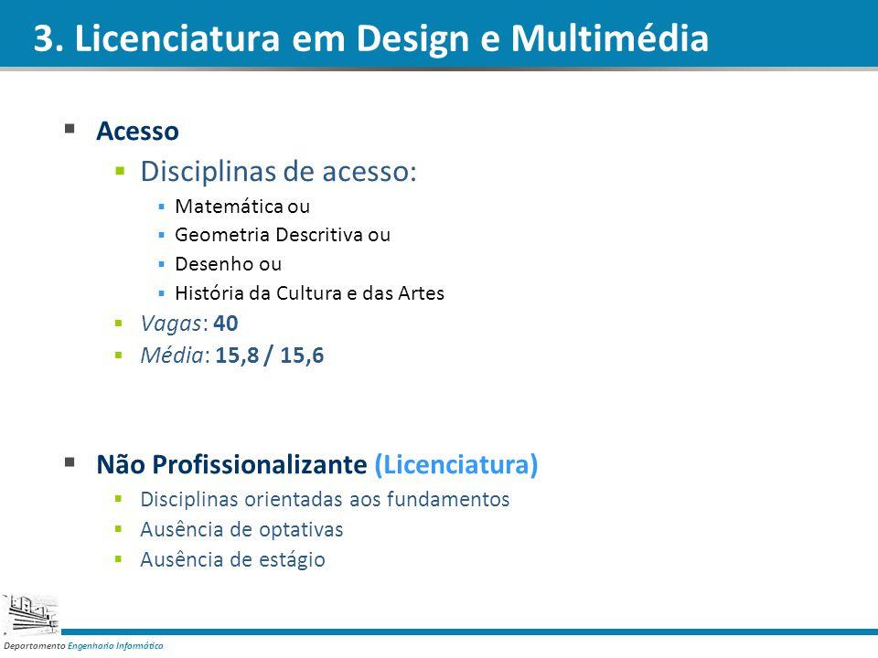 Departamento Engenharia Informática 3. Licenciatura em Design e Multimédia Acesso Disciplinas de acesso: Matemática ou Geometria Descritiva ou Desenho