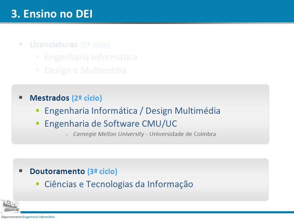 Departamento Engenharia Informática 3. Ensino no DEI Licenciaturas (1º ciclo) Engenharia Informática Design e Multimédia Mestrados (2º ciclo) Engenhar