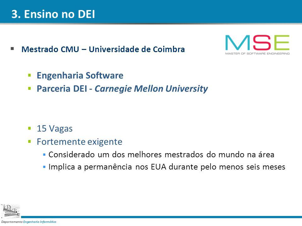 Departamento Engenharia Informática 3. Ensino no DEI Mestrado CMU – Universidade de Coimbra Engenharia Software Parceria DEI - Carnegie Mellon Univers