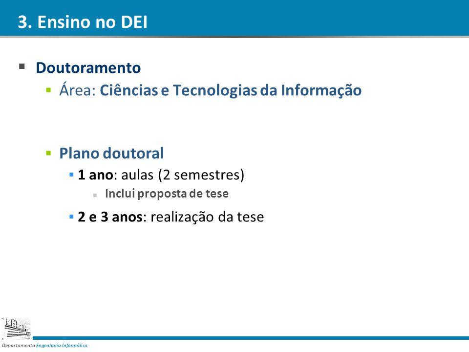 Departamento Engenharia Informática 3. Ensino no DEI Doutoramento Área: Ciências e Tecnologias da Informação Plano doutoral 1 ano: aulas (2 semestres)