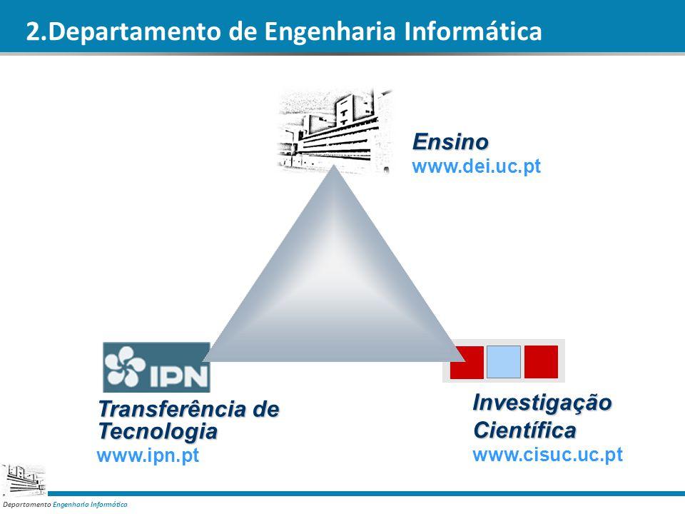 Departamento Engenharia Informática 2.Departamento de Engenharia Informática Ensino www.dei.uc.pt InvestigaçãoCientífica www.cisuc.uc.pt Transferência