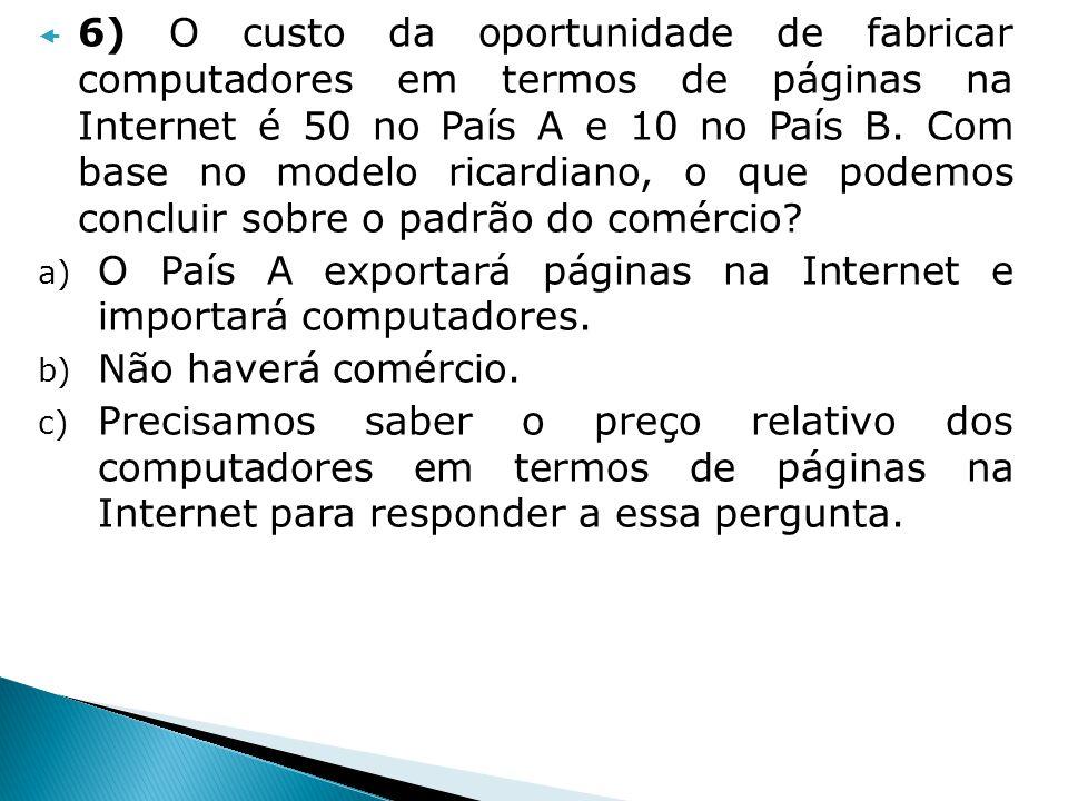 6) O custo da oportunidade de fabricar computadores em termos de páginas na Internet é 50 no País A e 10 no País B. Com base no modelo ricardiano, o q