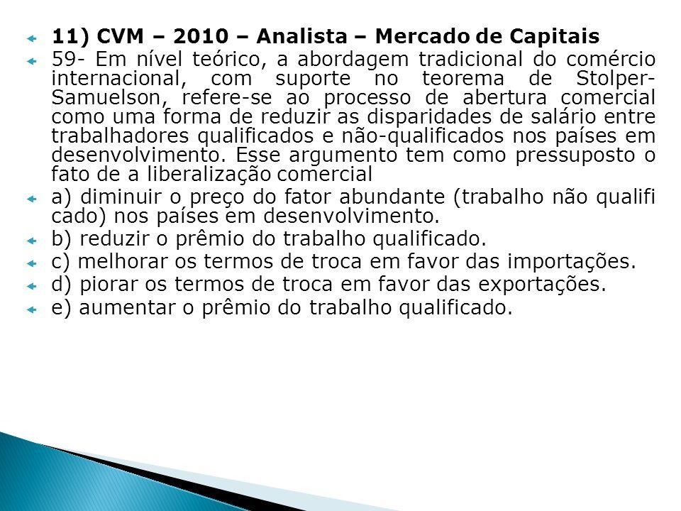 11) CVM – 2010 – Analista – Mercado de Capitais 59- Em nível teórico, a abordagem tradicional do comércio internacional, com suporte no teorema de Sto