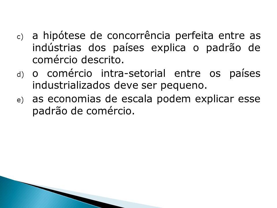 c) a hipótese de concorrência perfeita entre as indústrias dos países explica o padrão de comércio descrito. d) o comércio intra-setorial entre os paí