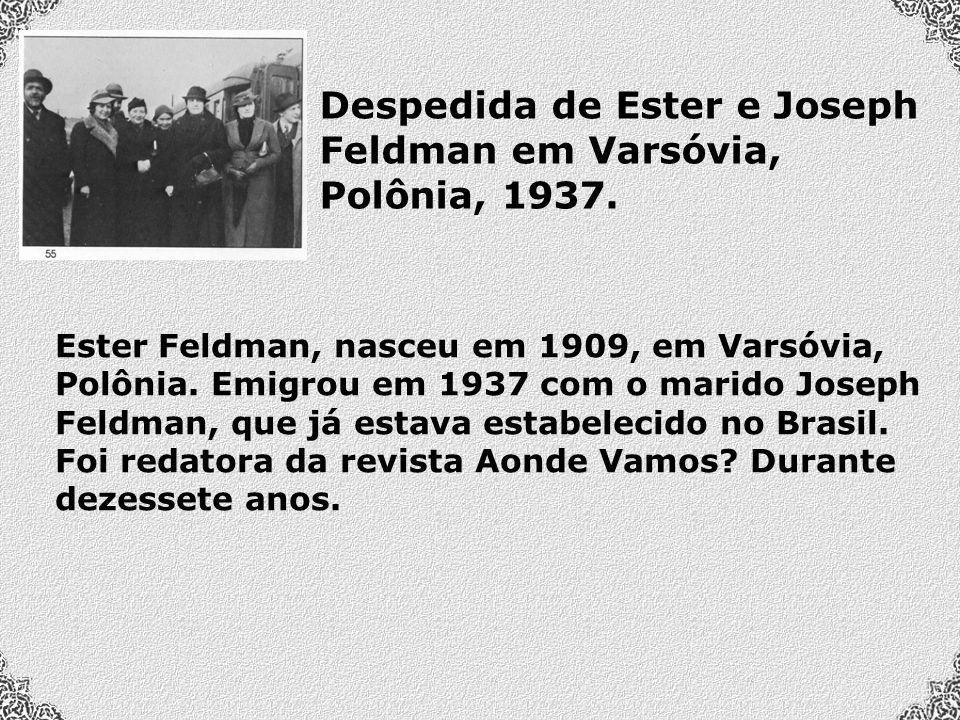 Despedida de Ester e Joseph Feldman em Varsóvia, Polônia, 1937.