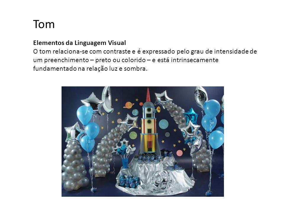 Elementos da Linguagem Visual O tom relaciona-se com contraste e é expressado pelo grau de intensidade de um preenchimento – preto ou colorido – e está intrinsecamente fundamentado na relação luz e sombra.