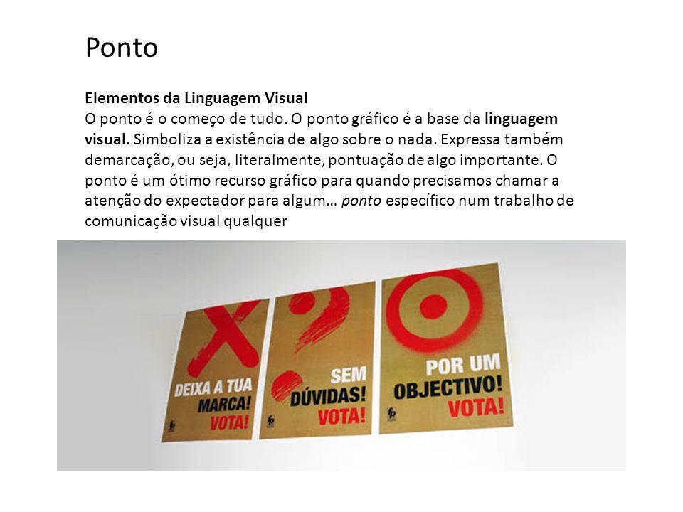 Elementos da Linguagem Visual O ponto é o começo de tudo. O ponto gráfico é a base da linguagem visual. Simboliza a existência de algo sobre o nada. E