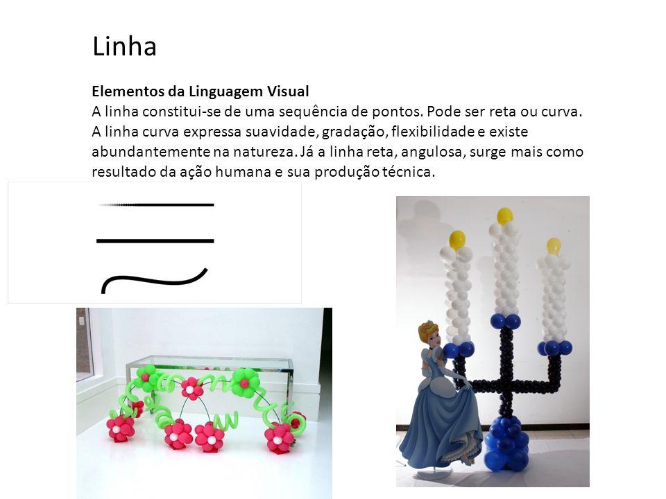 Elementos da Linguagem Visual A linha constitui-se de uma sequência de pontos. Pode ser reta ou curva. A linha curva expressa suavidade, gradação, fle
