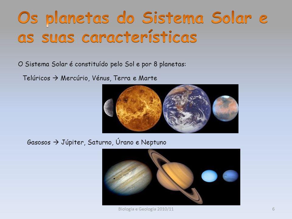 Biologia e Geologia 2010/116 O Sistema Solar é constituído pelo Sol e por 8 planetas: Telúricos Mercúrio, Vénus, Terra e Marte Gasosos Júpiter, Saturn