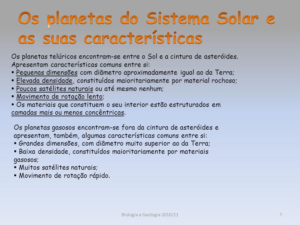 Biologia e Geologia 2010/117 Os planetas telúricos encontram-se entre o Sol e a cintura de asteróides. Apresentam características comuns entre si: Peq
