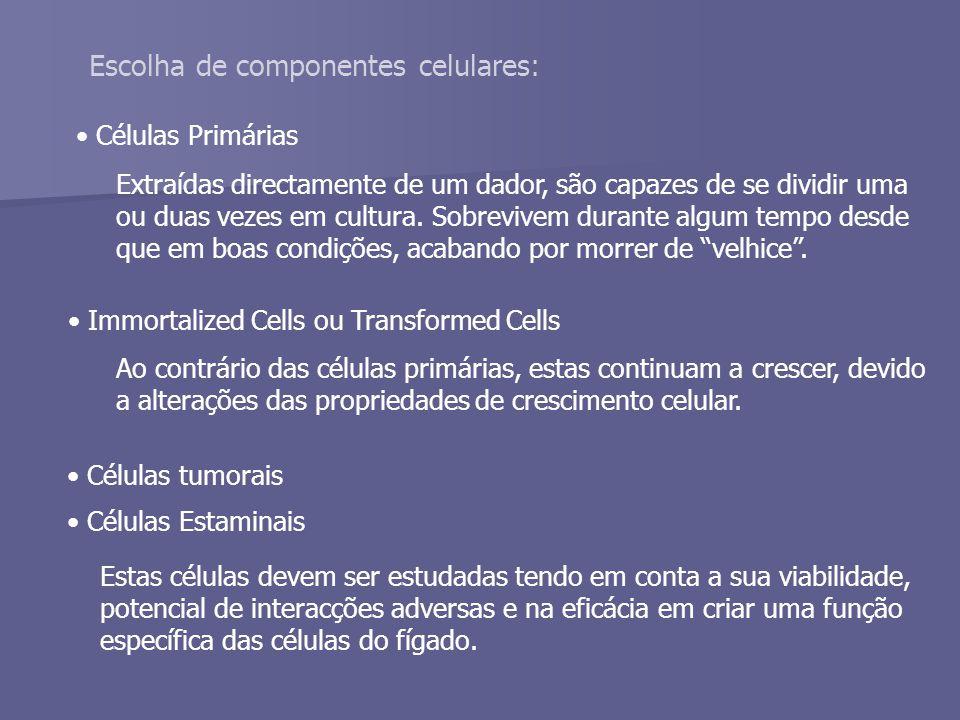 Escolha de componentes celulares: Células Primárias Extraídas directamente de um dador, são capazes de se dividir uma ou duas vezes em cultura.