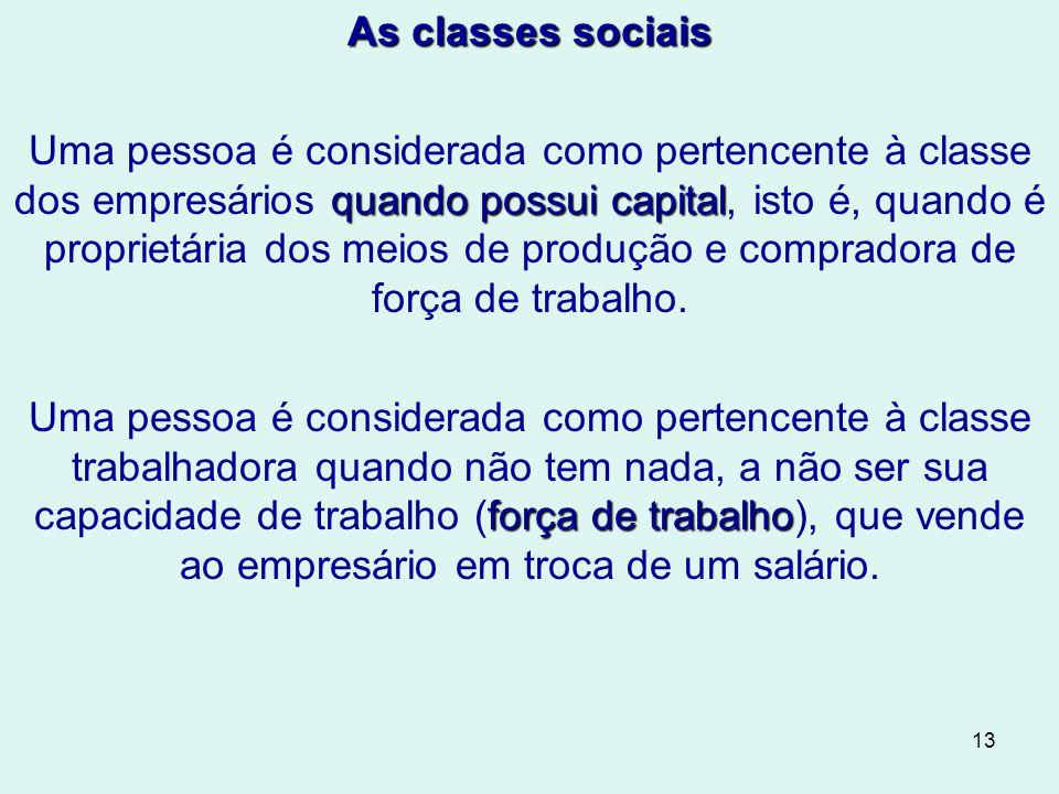 13 As classes sociais quando possui capital Uma pessoa é considerada como pertencente à classe dos empresários quando possui capital, isto é, quando é proprietária dos meios de produção e compradora de força de trabalho.