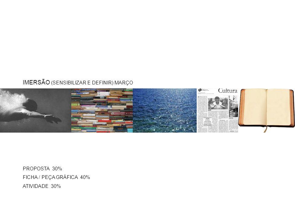 PROPOSTA 30% FICHA / PEÇA GRÁFICA 40% ATIVIDADE 30% IMERSÃO (SENSIBILIZAR E DEFINIR) MARÇO