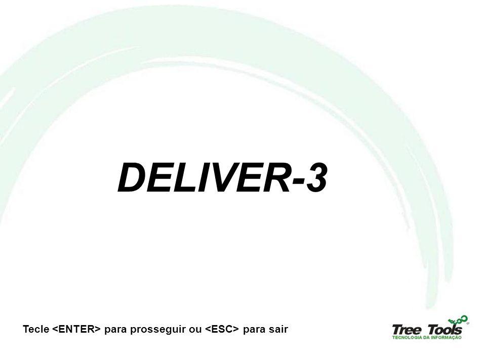 Finalidade do Deliver-3 Ser um módulo que permita a parametrização e o monitoramento dos níveis de serviço da Central de Help Desk; Principais Funcionalidades : Geração de alarmes para eventos específicos (chamados atrasados, SLAs, usuários VIP, equipamentos, etc); Controle de contratos registrados no módulo de inventário do Helpdesk-3; Possibilidade de abertura de chamados por e-mail; Dentre outros;