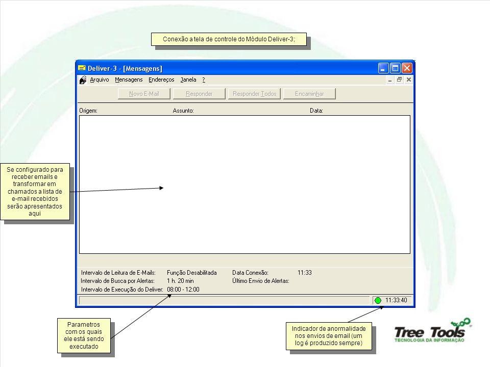 Conexão a tela de controle do Módulo Deliver-3; Se configurado para receber emails e transformar em chamados a lista de e-mail recebidos serão apresentados aqui Parametros com os quais ele está sendo executado Indicador de anormalidade nos envios de email (um log é produzido sempre)