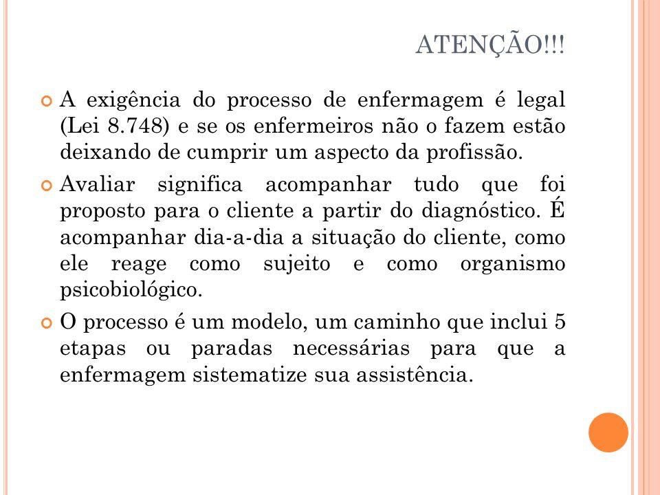 ATENÇÃO!!! A exigência do processo de enfermagem é legal (Lei 8.748) e se os enfermeiros não o fazem estão deixando de cumprir um aspecto da profissão