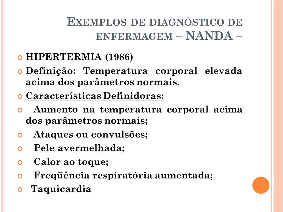 E XEMPLOS DE DIAGNÓSTICO DE ENFERMAGEM – NANDA – HIPERTERMIA (1986) Definição: Temperatura corporal elevada acima dos parâmetros normais. Característi