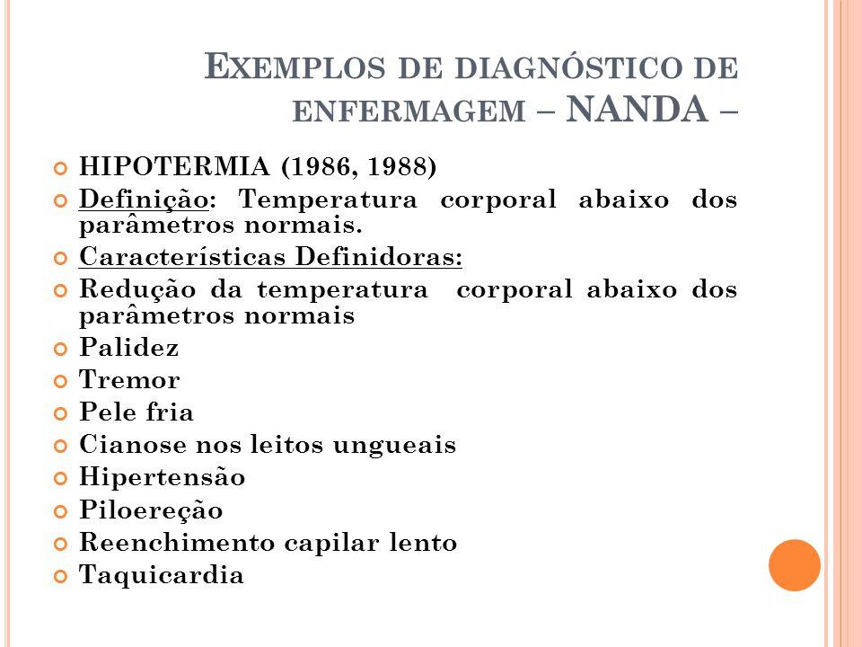 E XEMPLOS DE DIAGNÓSTICO DE ENFERMAGEM – NANDA – HIPOTERMIA (1986, 1988) Definição: Temperatura corporal abaixo dos parâmetros normais. Característica