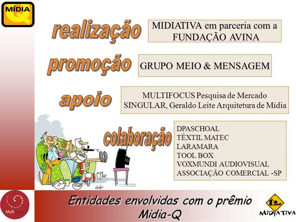 Entidades envolvidas com o prêmio Midia-Q MIDIATIVA em parceria com a FUNDAÇÃO AVINA FUNDAÇÃO AVINA GRUPO MEIO & MENSAGEM MULTIFOCUS Pesquisa de Merca