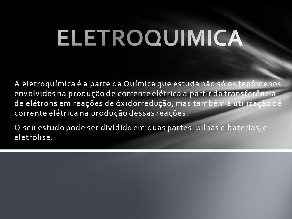 A eletroquímica é a parte da Química que estuda não só os fenômenos envolvidos na produção de corrente elétrica a partir da transferência de elétrons