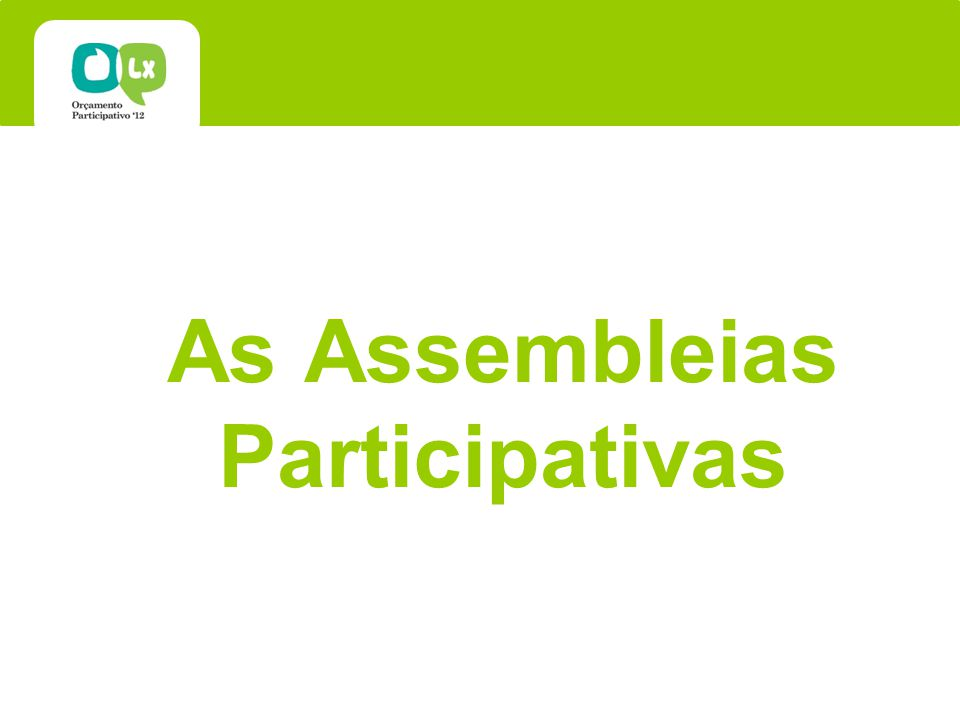 As Assembleias Participativas