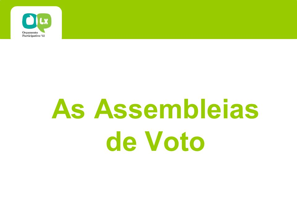 As Assembleias de Voto