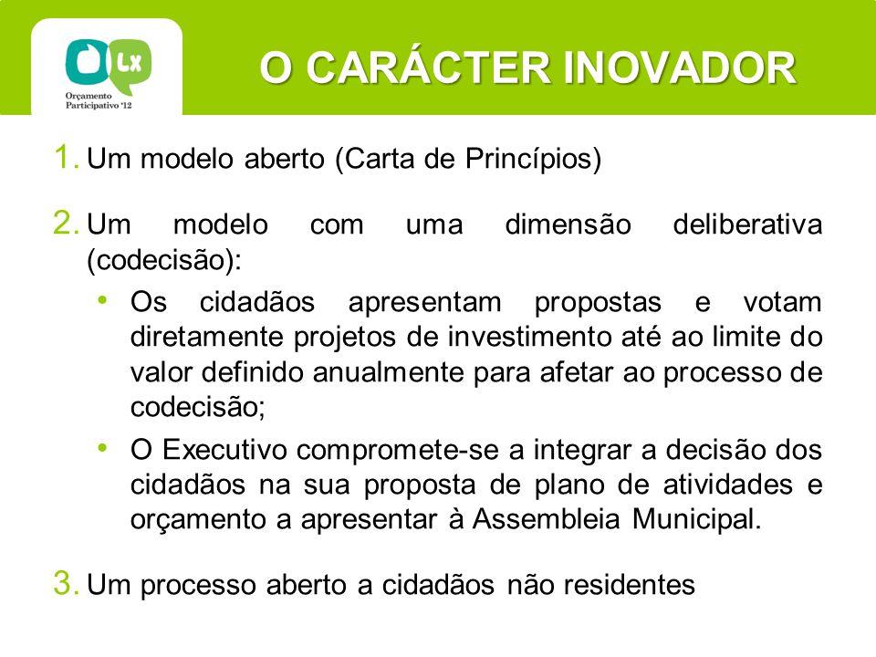 O CARÁCTER INOVADOR 1. Um modelo aberto (Carta de Princípios) 2.
