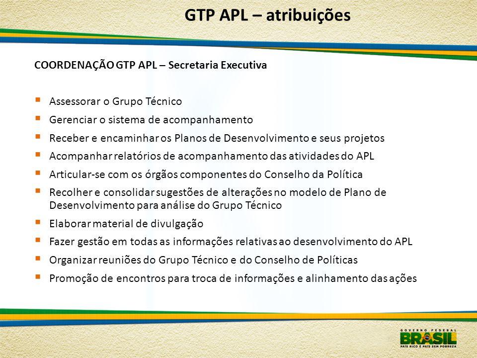 COORDENAÇÃO GTP APL – Secretaria Executiva Assessorar o Grupo Técnico Gerenciar o sistema de acompanhamento Receber e encaminhar os Planos de Desenvol