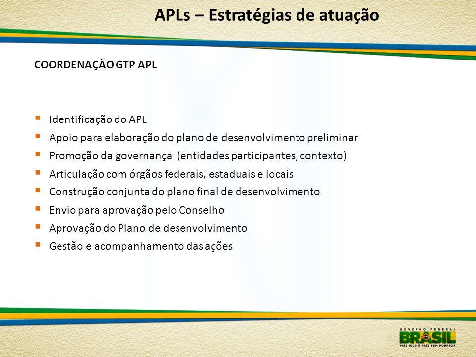 COORDENAÇÃO GTP APL Identificação do APL Apoio para elaboração do plano de desenvolvimento preliminar Promoção da governança (entidades participantes,