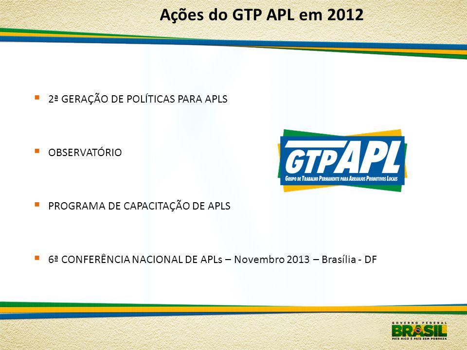 2ª GERAÇÃO DE POLÍTICAS PARA APLS OBSERVATÓRIO PROGRAMA DE CAPACITAÇÃO DE APLS 6ª CONFERÊNCIA NACIONAL DE APLs – Novembro 2013 – Brasília - DF Ações d