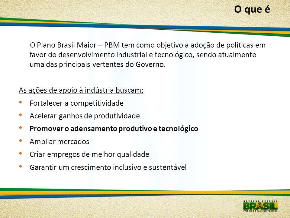 O Plano Brasil Maior – PBM tem como objetivo a adoção de políticas em favor do desenvolvimento industrial e tecnológico, sendo atualmente uma das prin
