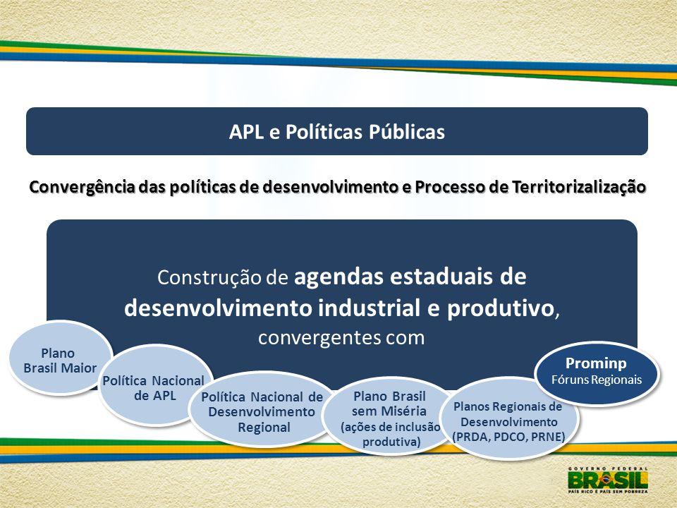 APL e Políticas Públicas Convergência das políticas de desenvolvimento e Processo de Territorizalização Construção de agendas estaduais de desenvolvim